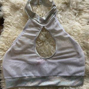 Roma rave wear mesh crop top size m/l
